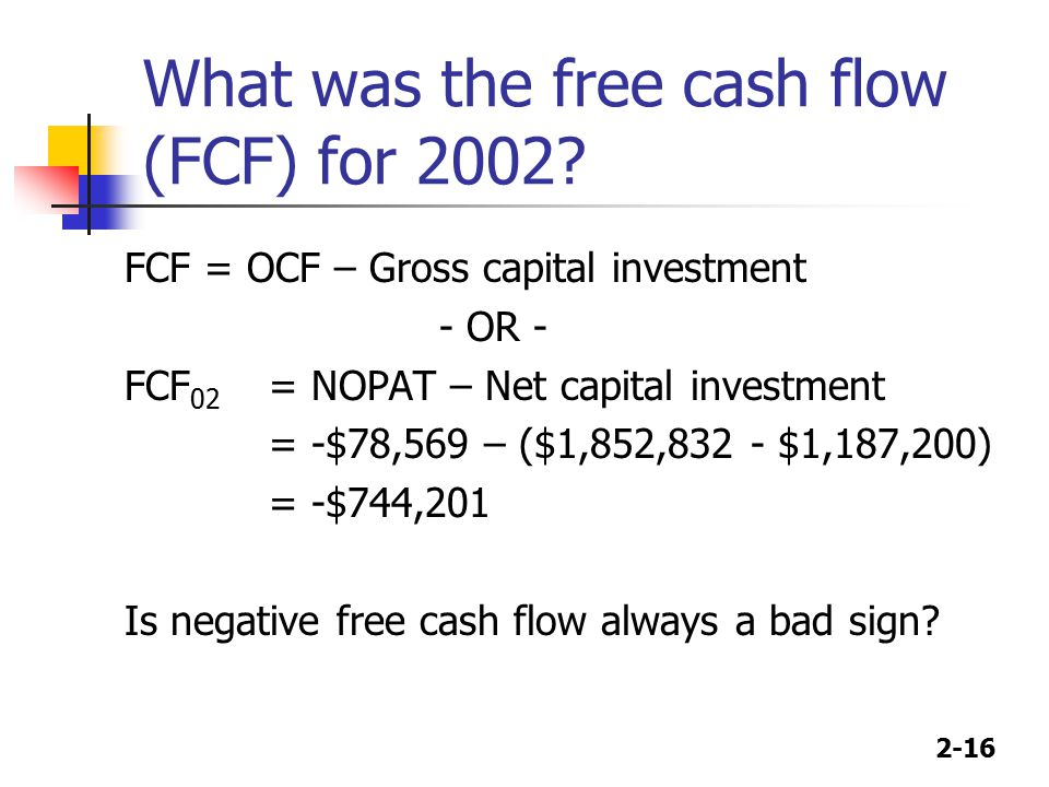 2-16 What was the free cash flow (FCF) for 2002.