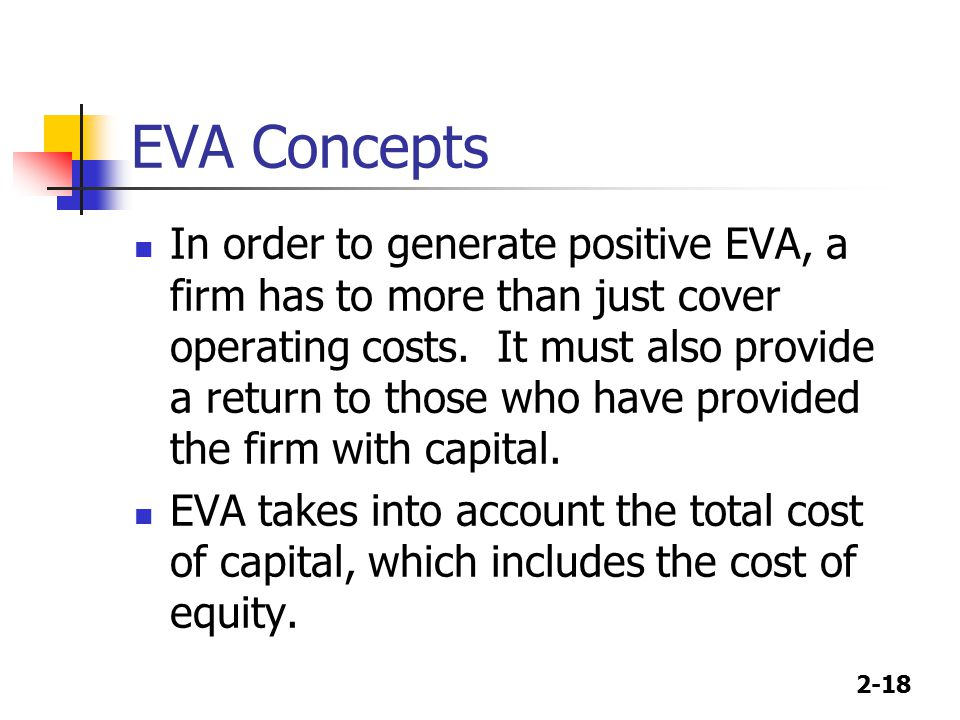 2-18 EVA Concepts In order to generate positive EVA, a firm has to more than just cover operating costs.