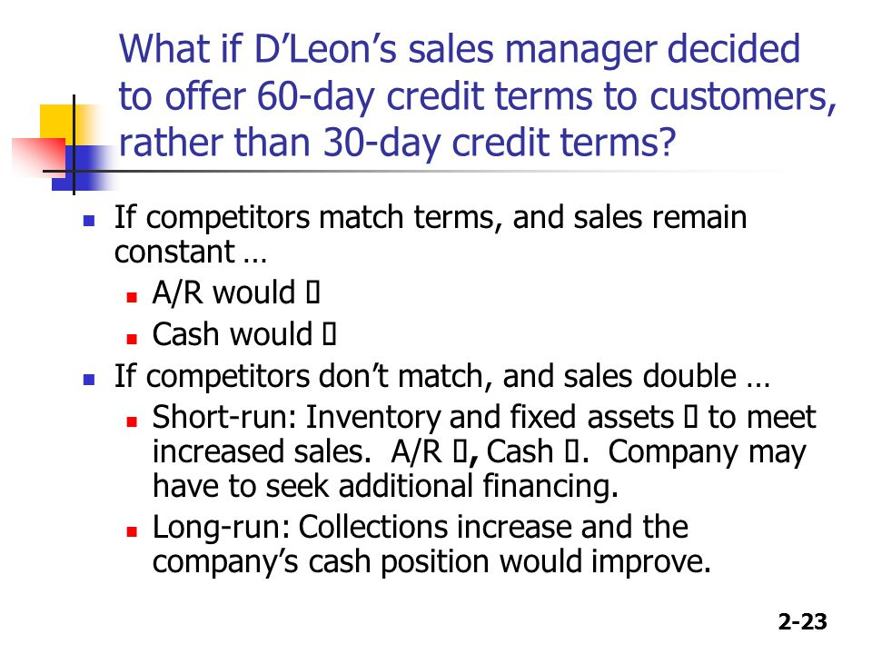 2-23 What if D'Leon's sales manager decided to offer 60-day credit terms to customers, rather than 30-day credit terms.