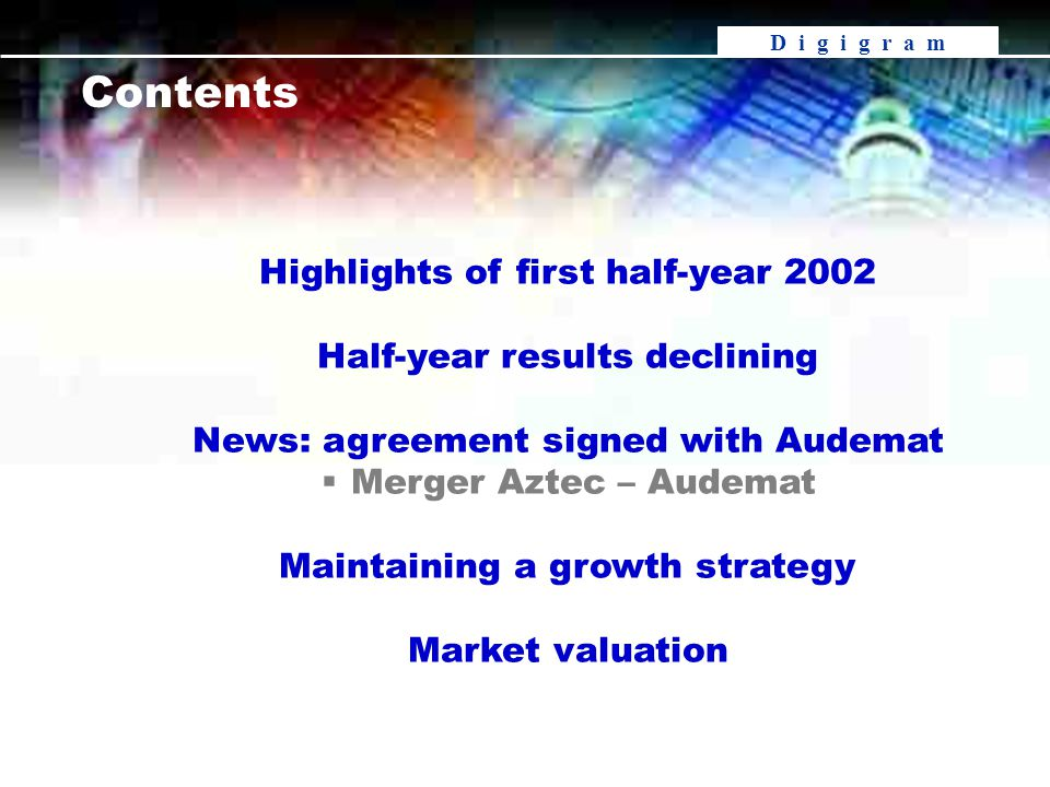 D i g i g r a m Contents Highlights of first half-year 2002 Half-year results declining News: agreement signed with Audemat  Merger Aztec – Audemat Maintaining a growth strategy Market valuation