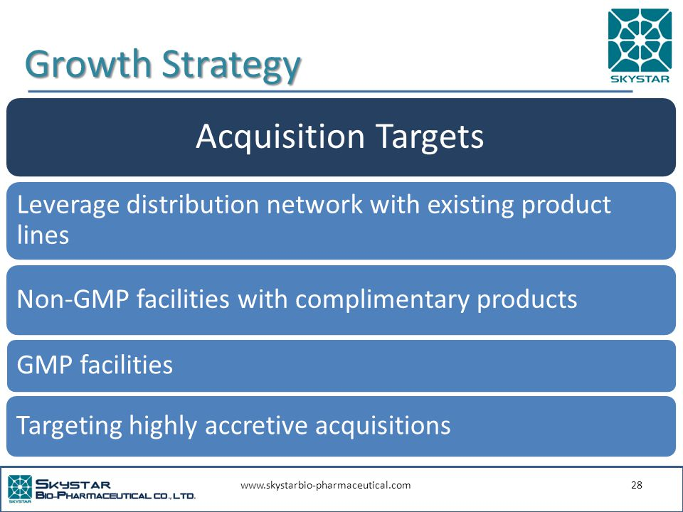 www.skystarbio-pharmaceutical.com28 Growth Strategy Acquisition Targets Leverage distribution network with existing product lines GMP facilities Non-GMP facilities with complimentary products Targeting highly accretive acquisitions