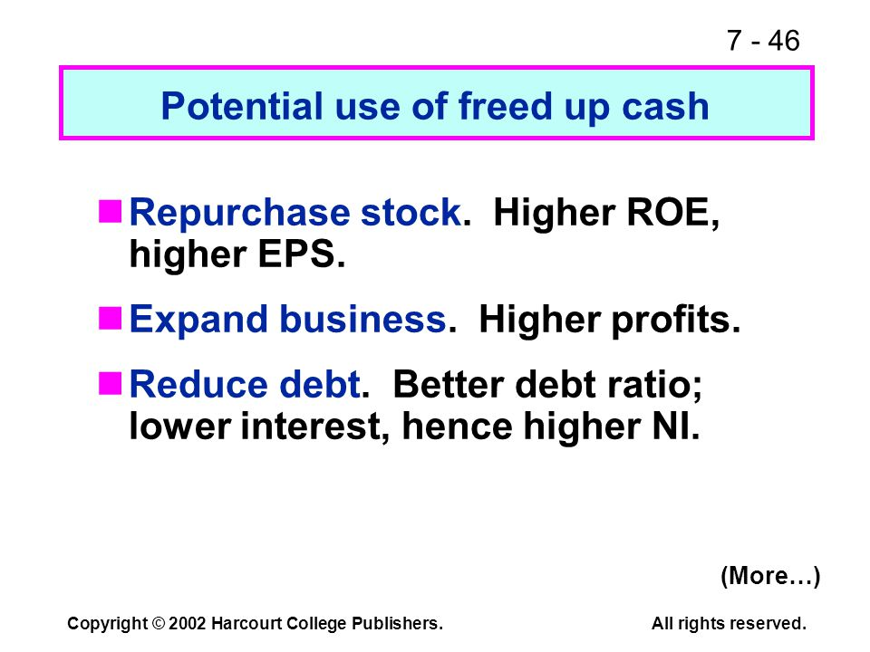 7 - 46 Copyright © 2002 Harcourt College Publishers.All rights reserved. Potential use of freed up cash Repurchase stock. Higher ROE, higher EPS. Expa