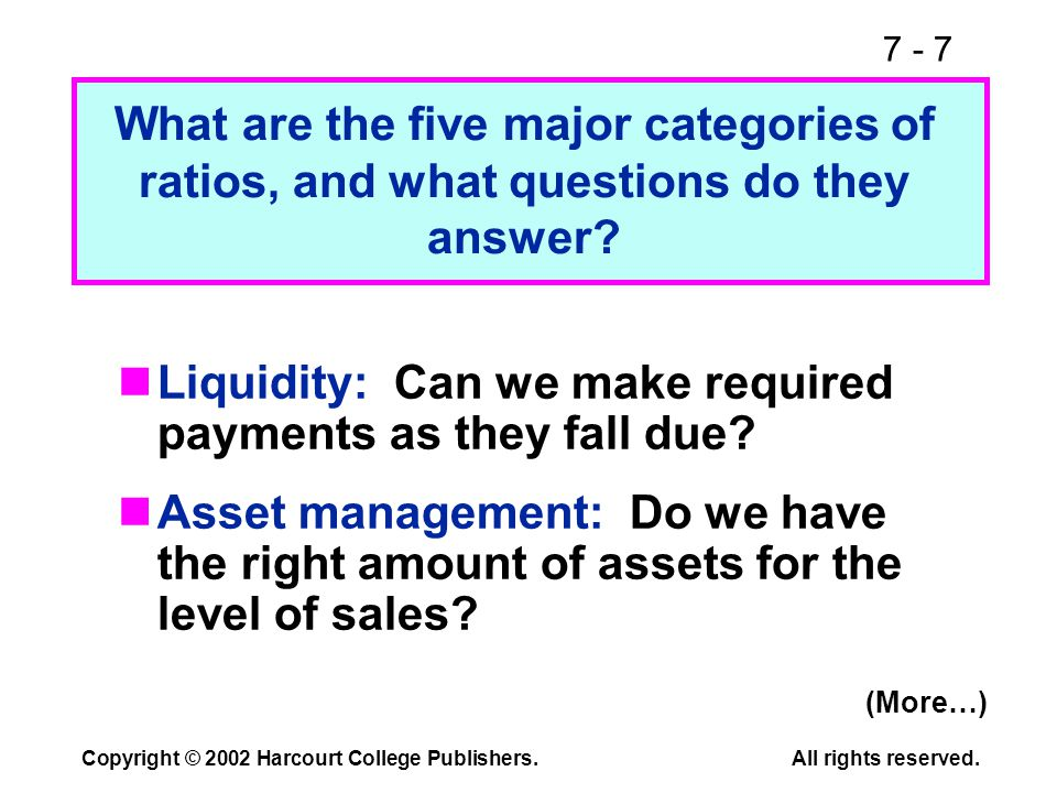 7 - 7 Copyright © 2002 Harcourt College Publishers.All rights reserved. Liquidity: Can we make required payments as they fall due? Asset management: D
