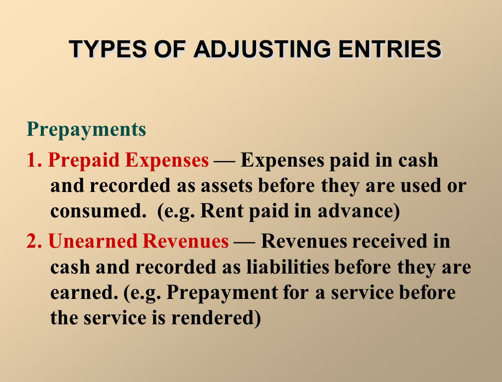 Adjusting entries are required each time financial statements are prepared. Adjusting entries can be classified as 1. prepayments (prepaid expenses or