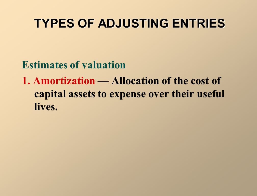 TYPES OF ADJUSTING ENTRIES Accruals 1. Accrued Revenues — Revenues earned but not yet received in cash or recorded. 2. Accrued Expenses — Expenses inc