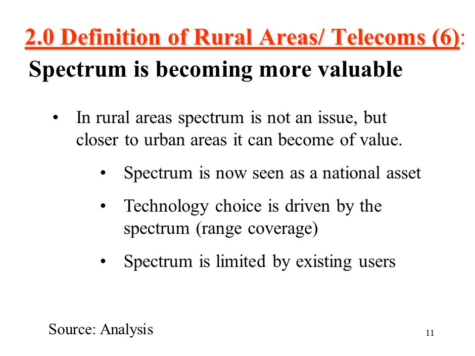 11 2.0 Definition of Rural Areas/ Telecoms (6) 2.0 Definition of Rural Areas/ Telecoms (6): Spectrum is becoming more valuable Source: Analysis In rural areas spectrum is not an issue, but closer to urban areas it can become of value.