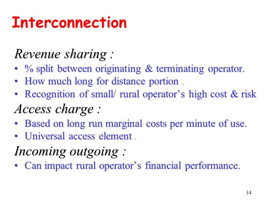 34 Revenue sharing : % split between originating & terminating operator.% split between originating & terminating operator.