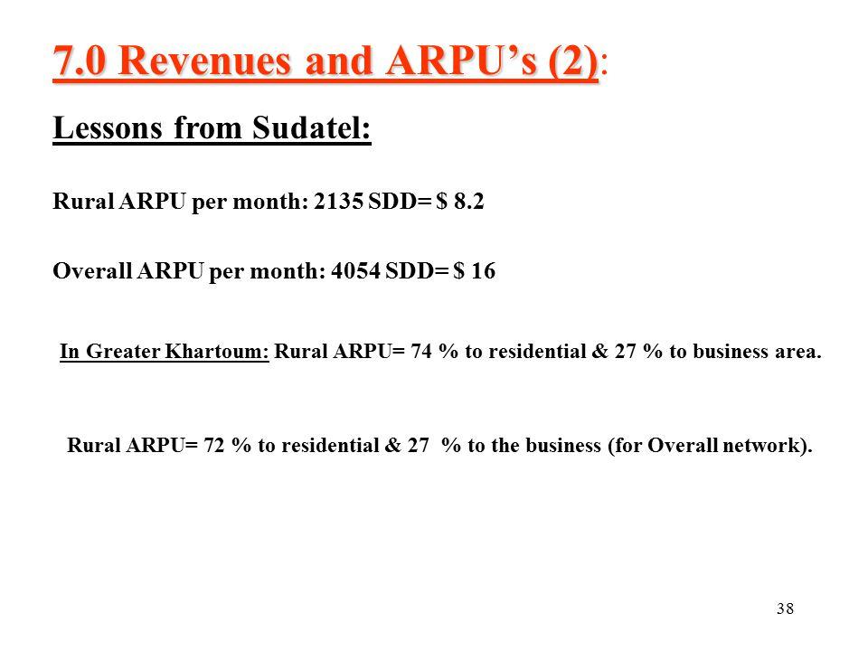 38 7.0 Revenues and ARPU's (2) 7.0 Revenues and ARPU's (2): Rural ARPU per month: 2135 SDD= $ 8.2 Overall ARPU per month: 4054 SDD= $ 16 In Greater Khartoum: Rural ARPU= 74 % to residential & 27 % to business area.