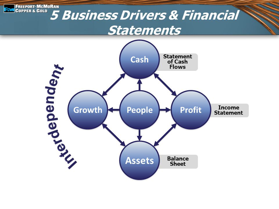 5 Business Drivers & Financial Statements Income Statement Balance Sheet Statement of Cash Flows People Assets Profit Cash Growth