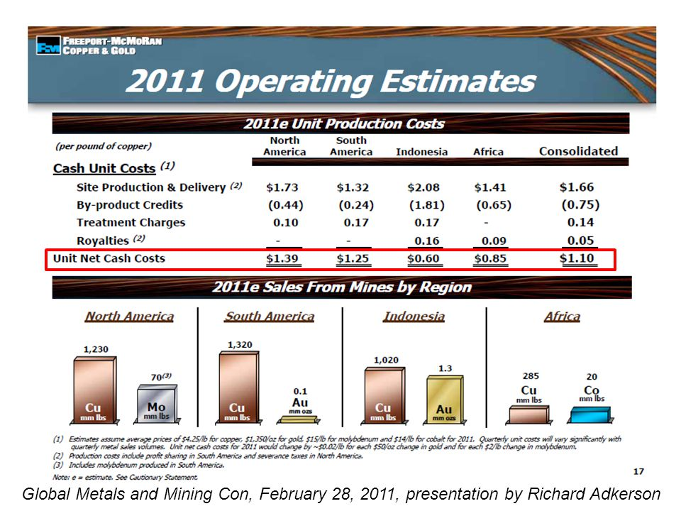 Global Metals and Mining Con, February 28, 2011, presentation by Richard Adkerson