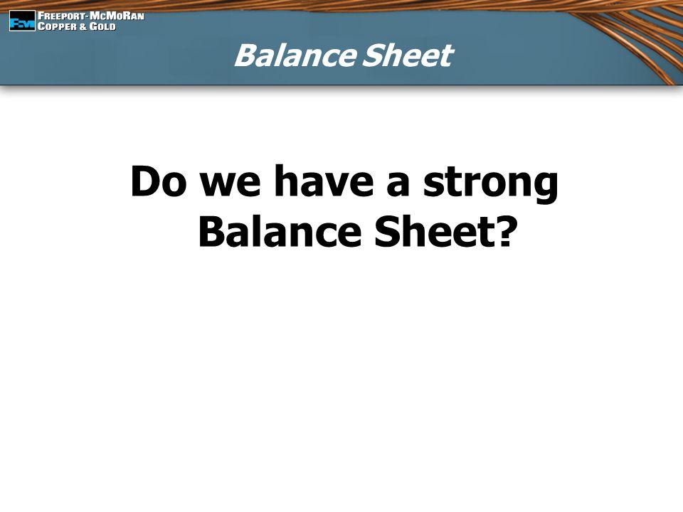 Balance Sheet Do we have a strong Balance Sheet?