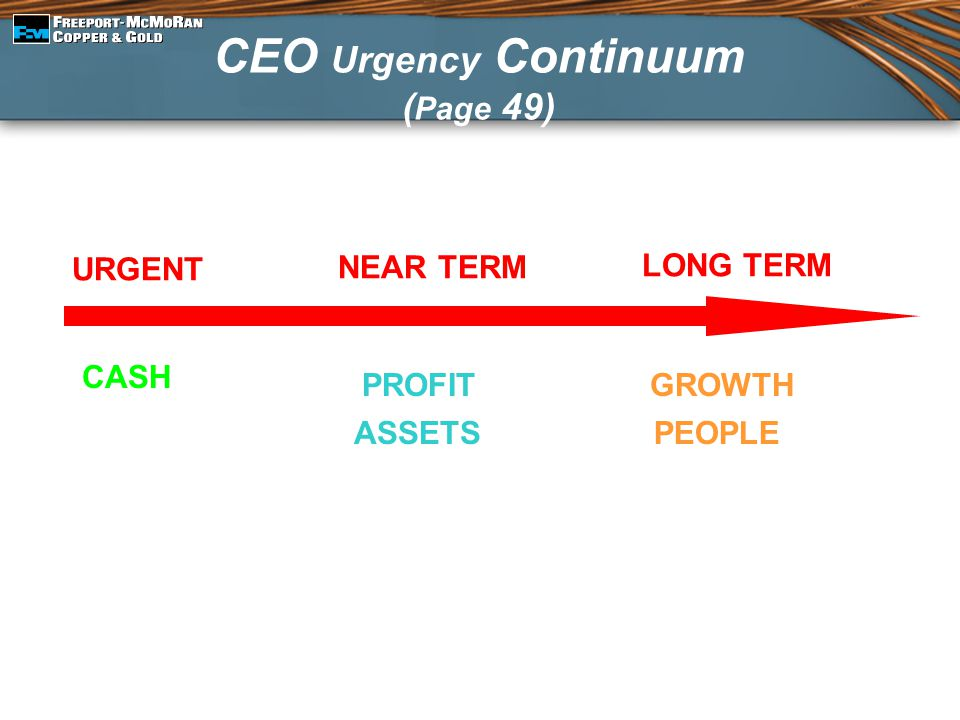 CEO Urgency Continuum ( Page 49) URGENT NEAR TERM LONG TERM CASH PROFIT ASSETS GROWTH PEOPLE