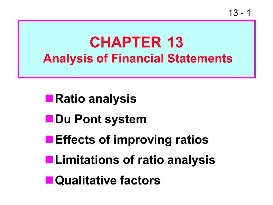 13 - 42 ( )( )( ) = ROE Profit margin TA turnover Equity multiplier NI Sales TA CE 20032.6% x 2.3x2.2=13.2% 2004-1.6%x2.0x5.2=-16.6% 20053.6%x2.0x1.8=13.0% Ind.3.6%x2.5x2.0=18.0% The Du Pont System xx = ROE.