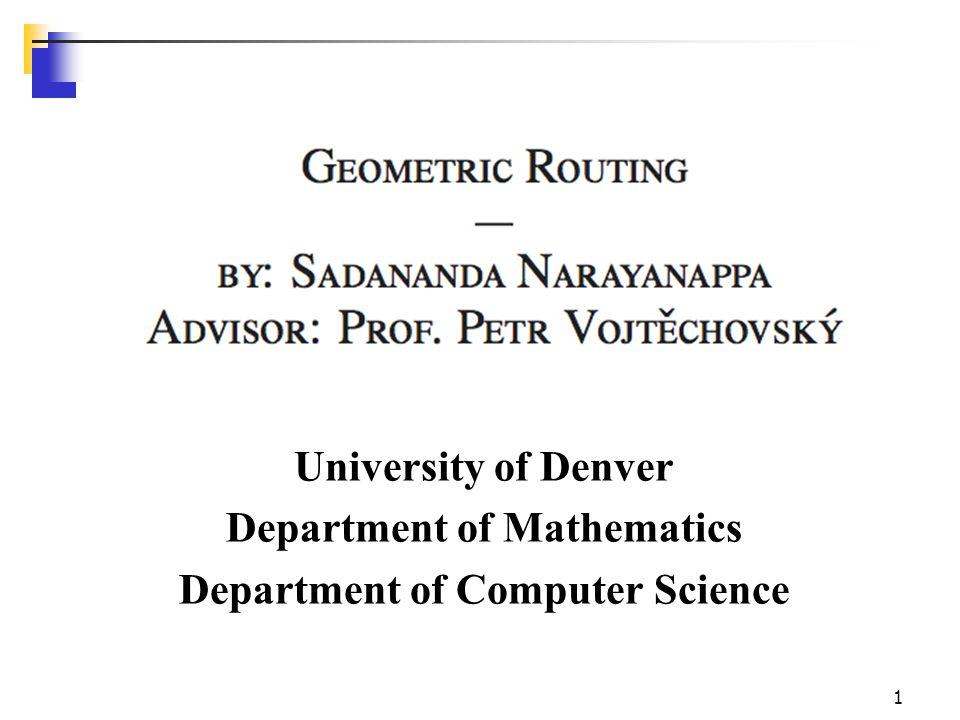 1 University of Denver Department of Mathematics Department of Computer Science