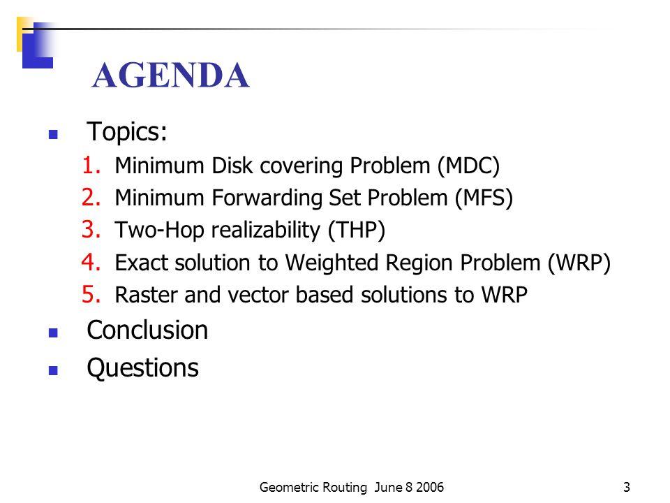 Geometric Routing June 8 20063 AGENDA Topics: 1.Minimum Disk covering Problem (MDC) 2.