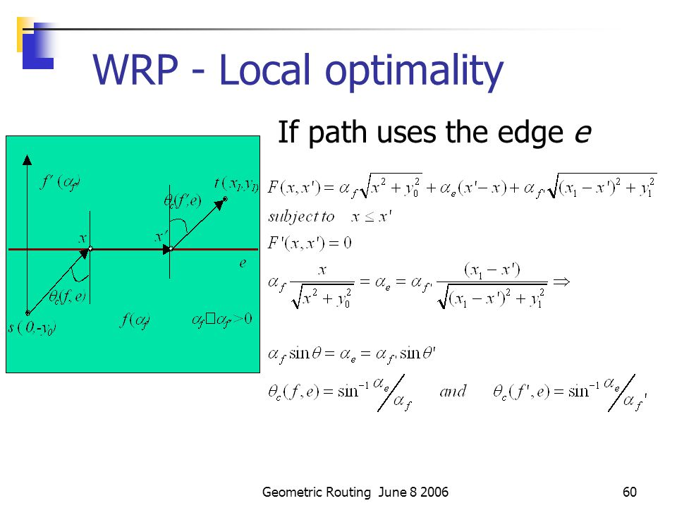 Geometric Routing June 8 200659 WRP - Local optimality If path passes through edge e, Cost function from s to t