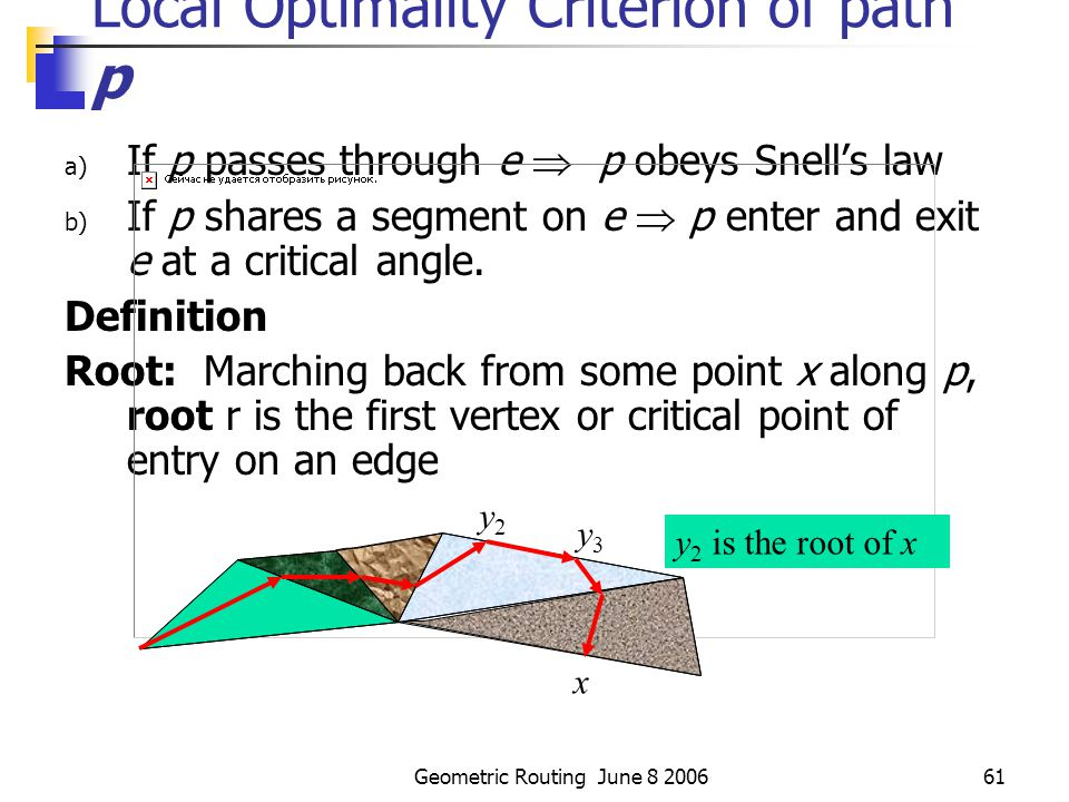 Geometric Routing June 8 200660 WRP - Local optimality If path uses the edge e