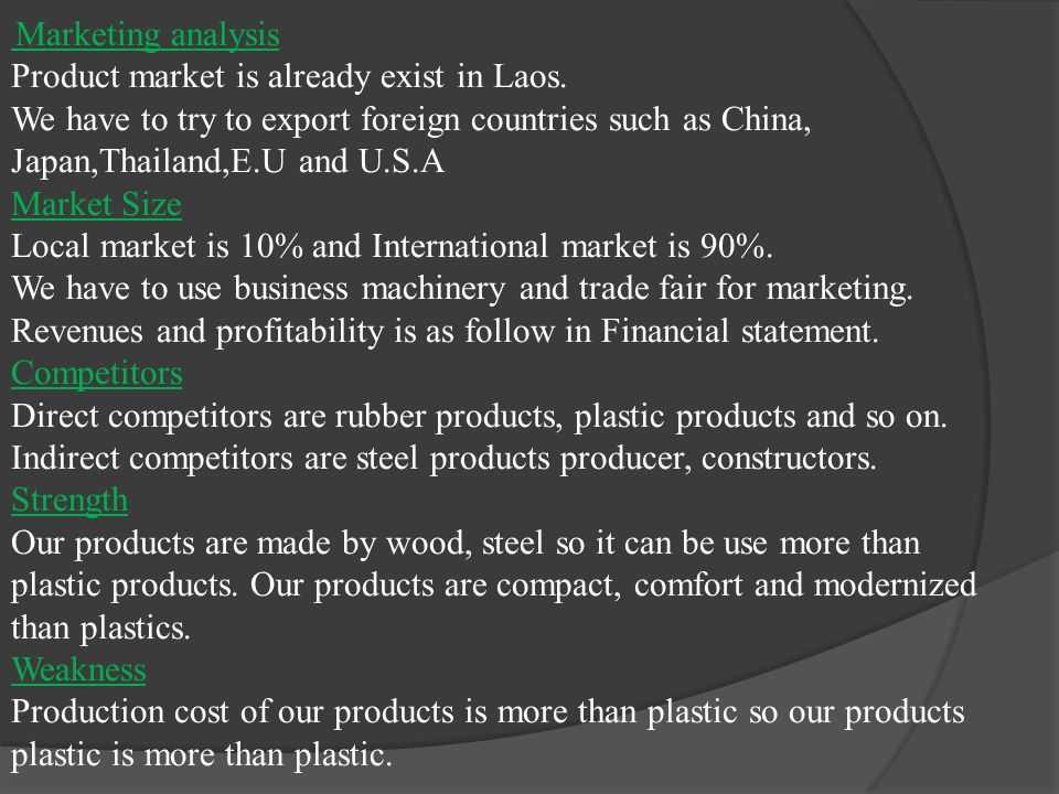 Marketing analysis Product market is already exist in Laos.