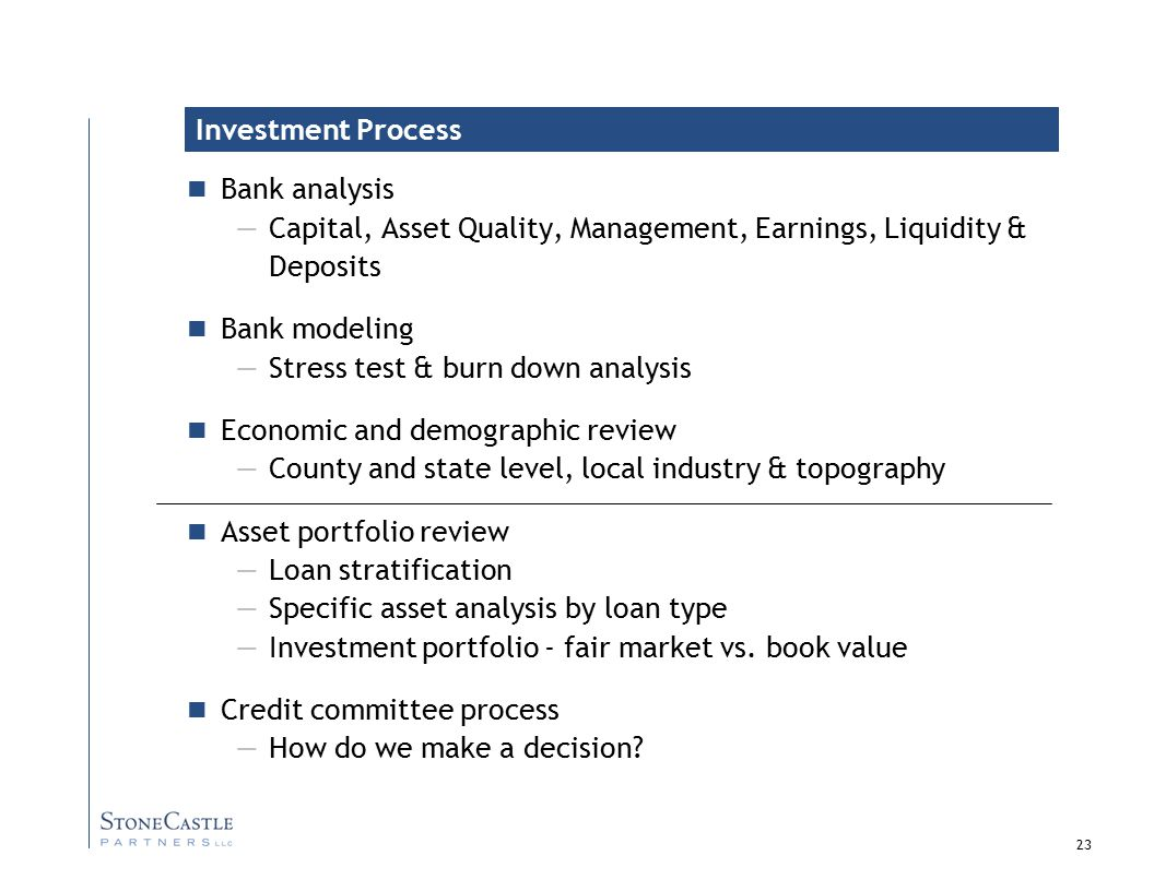 23 Bank analysis —Capital, Asset Quality, Management, Earnings, Liquidity & Deposits Bank modeling —Stress test & burn down analysis Economic and demographic review —County and state level, local industry & topography Asset portfolio review —Loan stratification —Specific asset analysis by loan type —Investment portfolio - fair market vs.