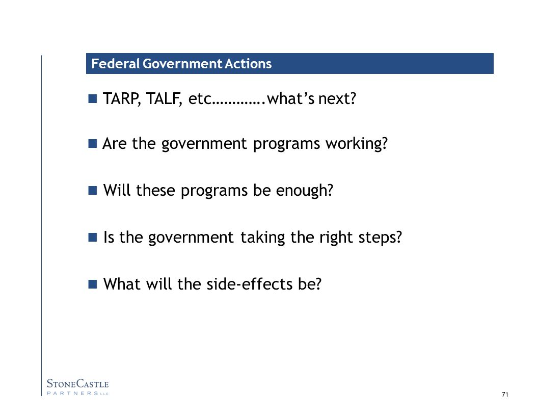 71 TARP, TALF, etc………….what's next.Are the government programs working.