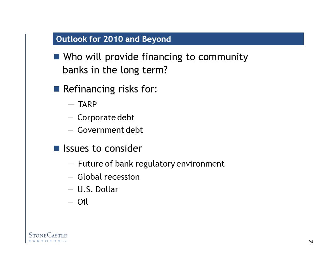 94 Who will provide financing to community banks in the long term.
