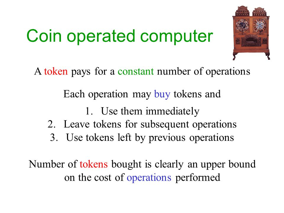 Coin operated computer A token pays for a constant number of operations Each operation may buy tokens and 1.Use them immediately 2.Leave tokens for subsequent operations 3.Use tokens left by previous operations Number of tokens bought is clearly an upper bound on the cost of operations performed