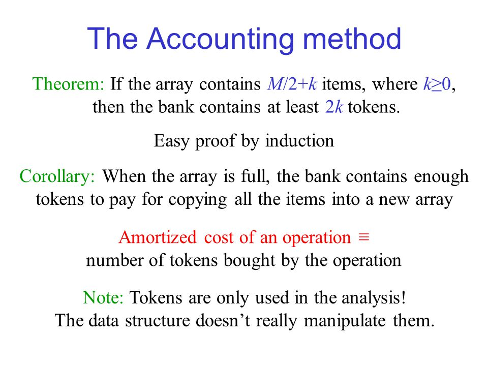 The Accounting method Theorem: If the array contains M/2+k items, where k≥0, then the bank contains at least 2k tokens.