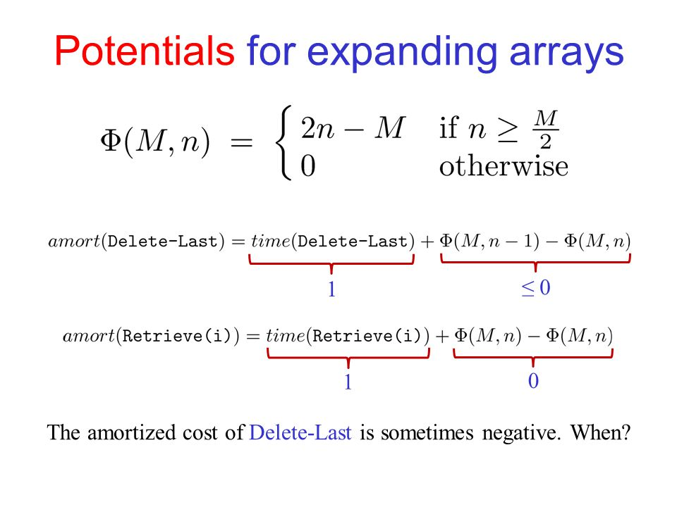 Potentials for expanding arrays 1 ≤ 0 1 0 The amortized cost of Delete-Last is sometimes negative.