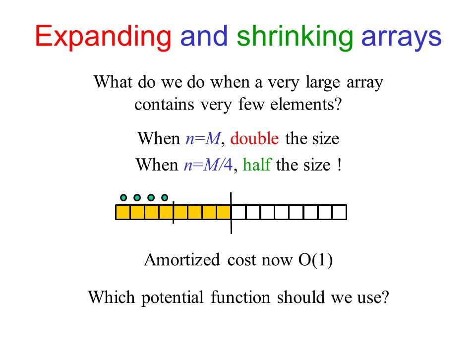 Expanding and shrinking arrays What do we do when a very large array contains very few elements.