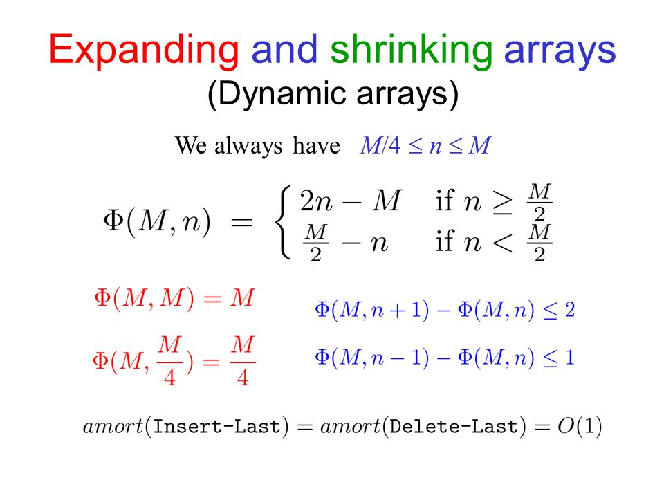 Expanding and shrinking arrays (Dynamic arrays) We always have M/4  n  M