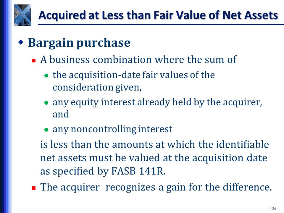 4-36 Acquired at Less than Fair Value of Net Assets  Bargain purchase A business combination where the sum of the acquisition-date fair values of the
