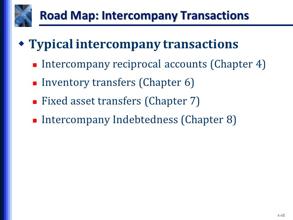 4-48 Road Map: Intercompany Transactions  Typical intercompany transactions Intercompany reciprocal accounts (Chapter 4) Inventory transfers (Chapter