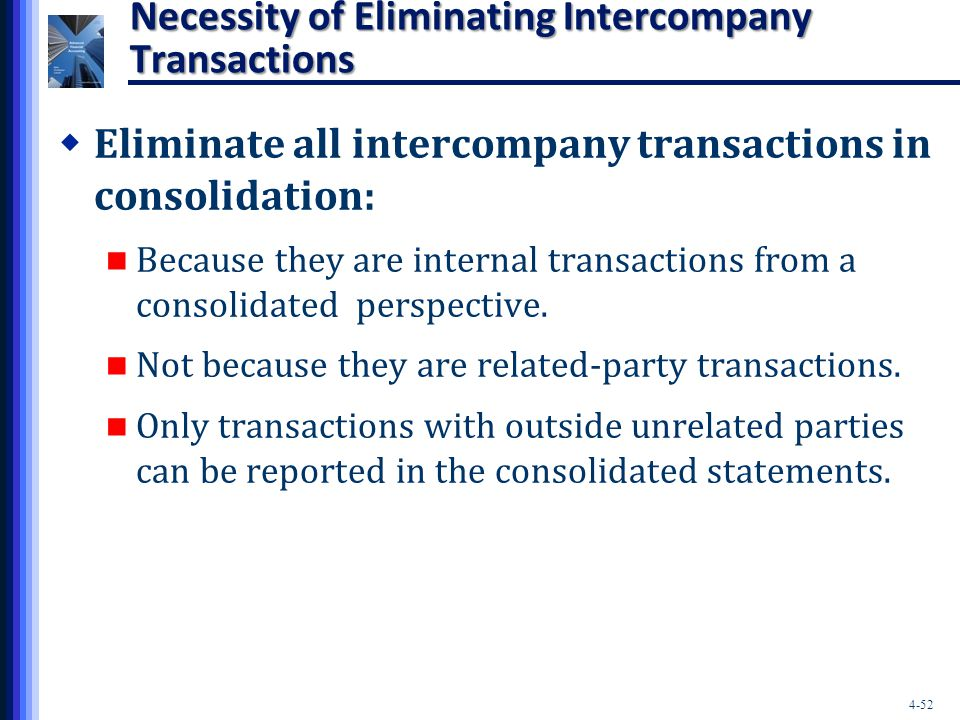4-52 Necessity of Eliminating Intercompany Transactions  Eliminate all intercompany transactions in consolidation: Because they are internal transact