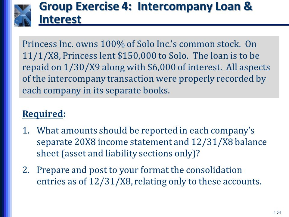 4-54 Princess Inc. owns 100% of Solo Inc.'s common stock. On 11/1/X8, Princess lent $150,000 to Solo. The loan is to be repaid on 1/30/X9 along with $