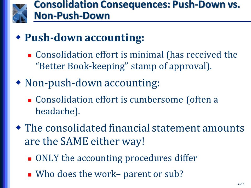 """4-62 Consolidation Consequences: Push-Down vs. Non-Push-Down  Push-down accounting: Consolidation effort is minimal (has received the """"Better Book-ke"""