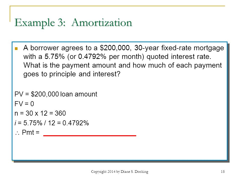 Example 3: Amortization A borrower agrees to a $200,000, 30-year fixed-rate mortgage with a 5.75% (or 0.4792% per month) quoted interest rate.