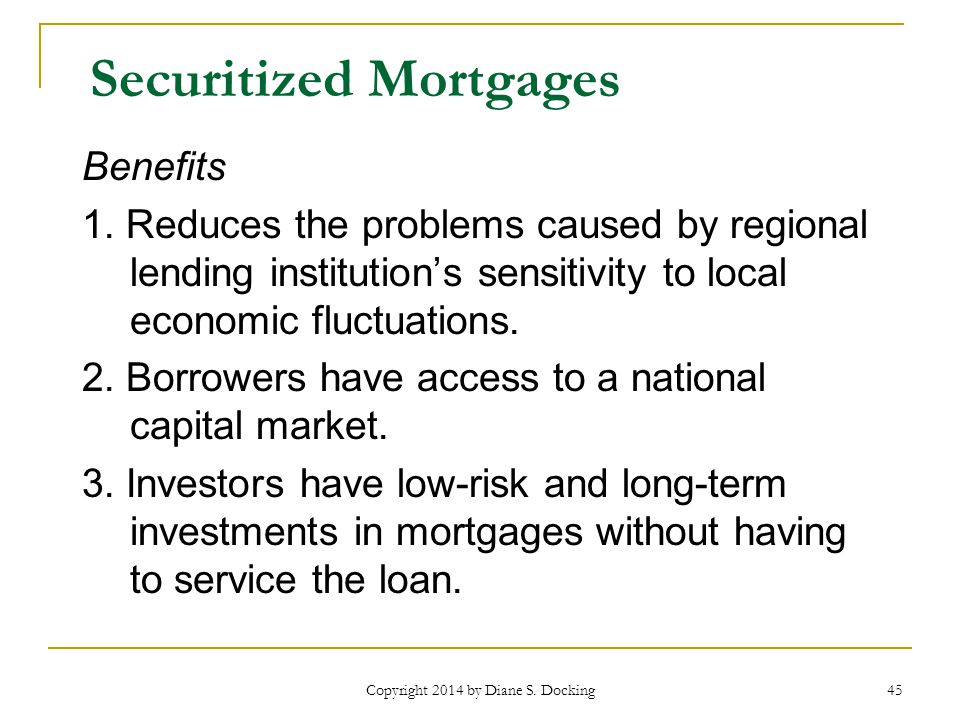 45 Securitized Mortgages Benefits 1.