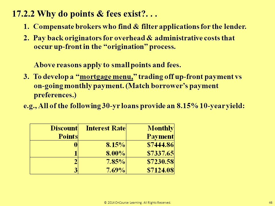 17.2.2 Why do points & fees exist?... 1. Compensate brokers who find & filter applications for the lender. 2. Pay back originators for overhead & admi