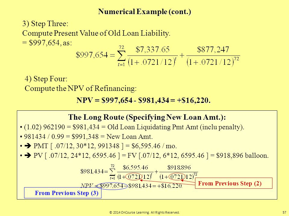Numerical Example (cont.) 3) Step Three: Compute Present Value of Old Loan Liability. = $997,654, as: 4) Step Four: Compute the NPV of Refinancing: NP