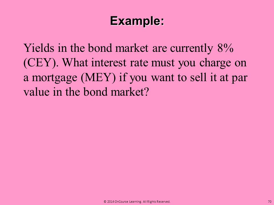 Example: Yields in the bond market are currently 8% (CEY). What interest rate must you charge on a mortgage (MEY) if you want to sell it at par value