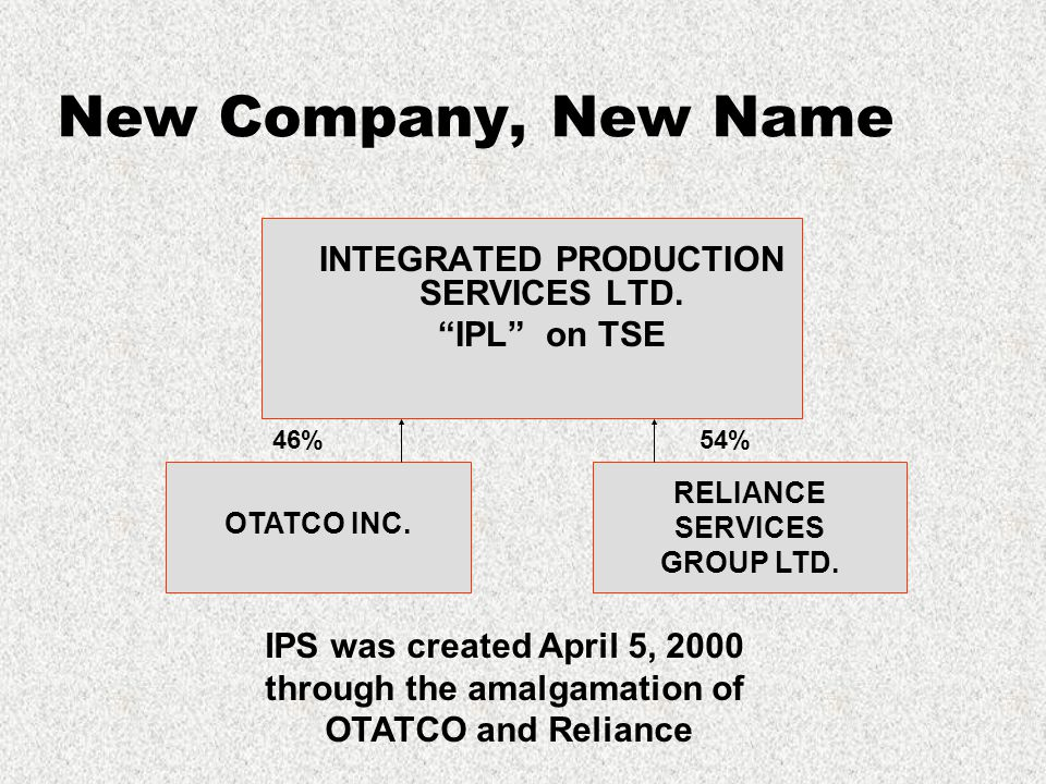 New Company, New Name INTEGRATED PRODUCTION SERVICES LTD.