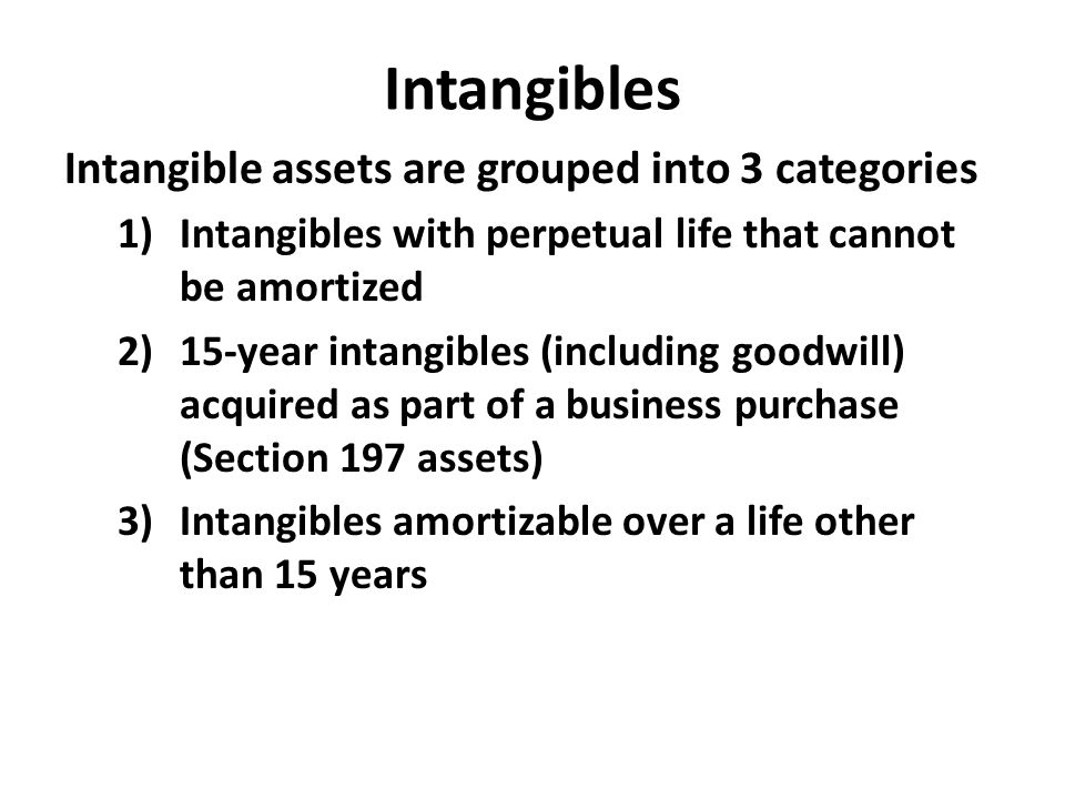 Intangibles Intangible assets are grouped into 3 categories 1)Intangibles with perpetual life that cannot be amortized 2)15-year intangibles (includin