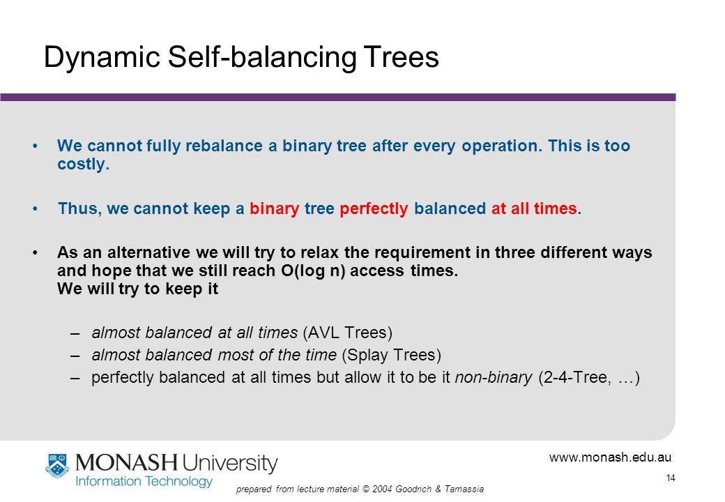 www.monash.edu.au 14 prepared from lecture material © 2004 Goodrich & Tamassia Dynamic Self-balancing Trees We cannot fully rebalance a binary tree after every operation.
