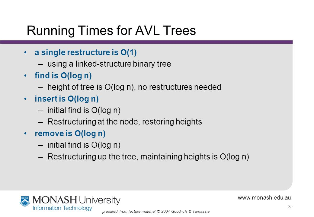 www.monash.edu.au 25 prepared from lecture material © 2004 Goodrich & Tamassia Running Times for AVL Trees a single restructure is O(1) –using a linked-structure binary tree find is O(log n) –height of tree is O(log n), no restructures needed insert is O(log n) –initial find is O(log n) –Restructuring at the node, restoring heights remove is O(log n) –initial find is O(log n) –Restructuring up the tree, maintaining heights is O(log n)