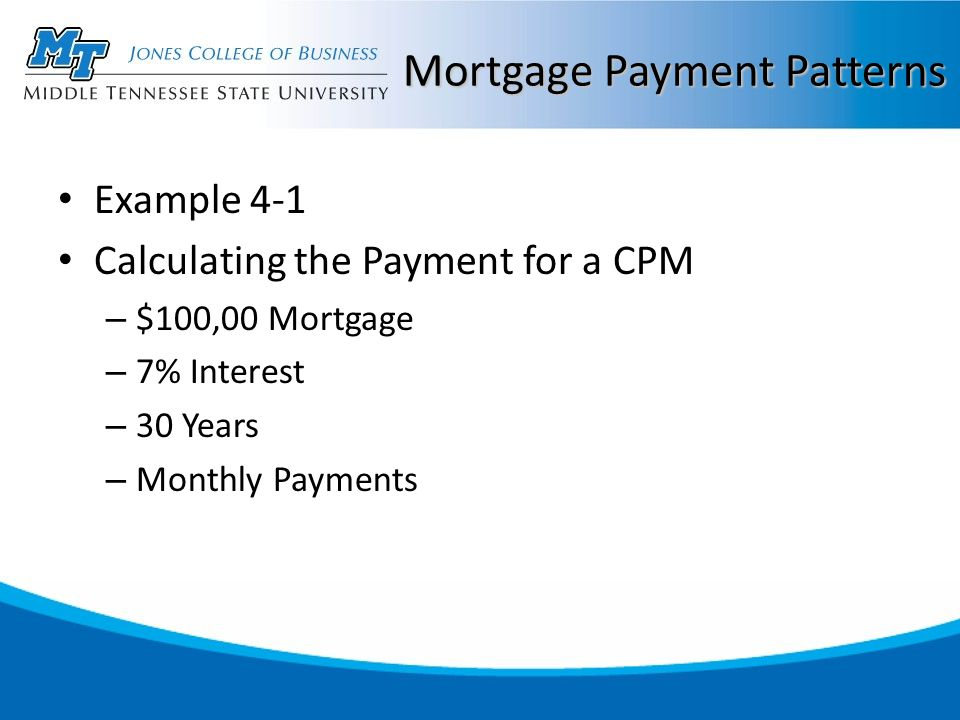 Mortgage Payment Patterns Example 4-1 Calculating the Payment for a CPM – $100,00 Mortgage – 7% Interest – 30 Years – Monthly Payments