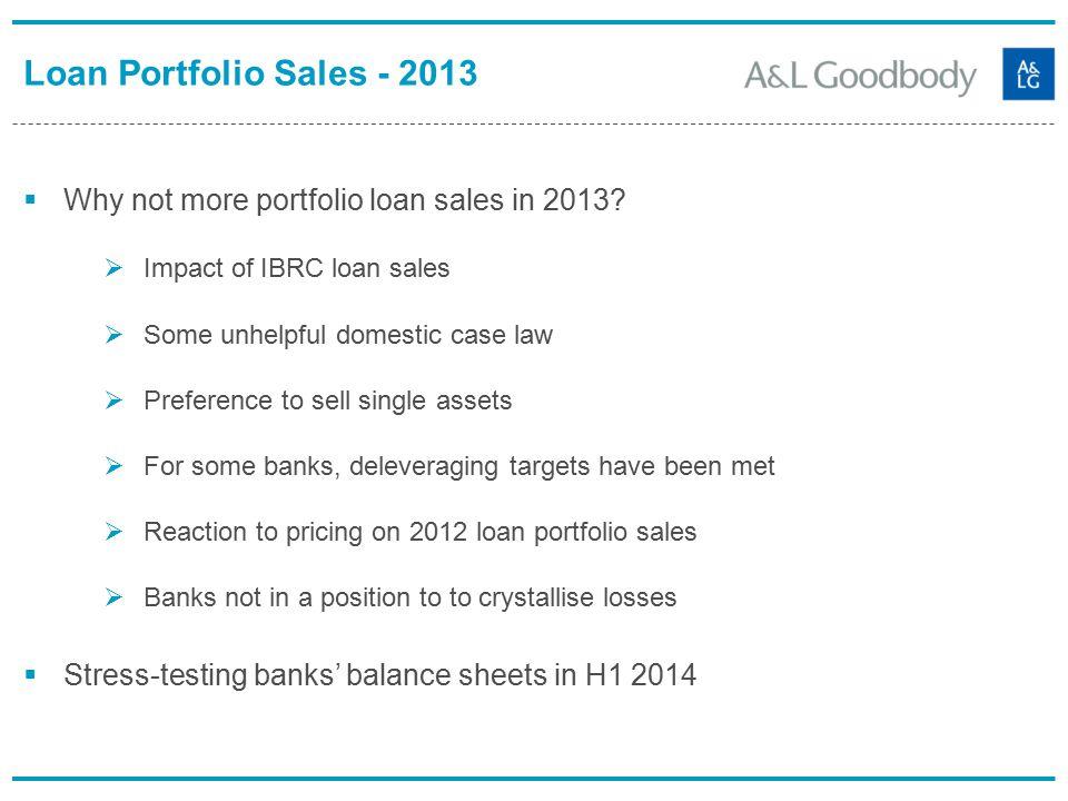 Loan Portfolio Sales - 2013  Why not more portfolio loan sales in 2013.