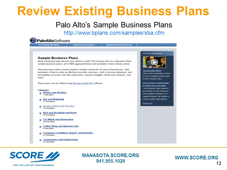 MANASOTA.SCORE.ORG 941.955.1029 WWW.SCORE.ORG 12 Review Existing Business Plans Palo Alto's Sample Business Plans http://www.bplans.com/samples/sba.cf