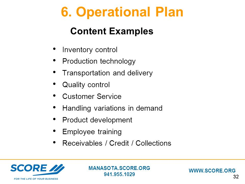 MANASOTA.SCORE.ORG 941.955.1029 WWW.SCORE.ORG 32 6. Operational Plan Inventory control Production technology Transportation and delivery Quality contr
