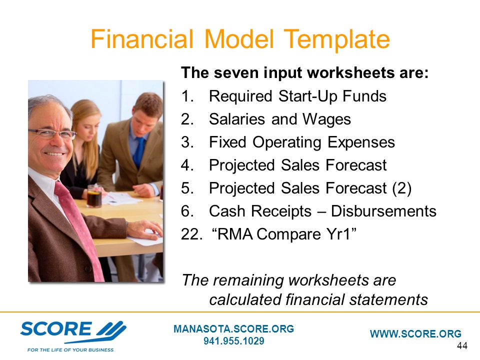MANASOTA.SCORE.ORG 941.955.1029 WWW.SCORE.ORG 44 The seven input worksheets are: 1.Required Start-Up Funds 2.Salaries and Wages 3.Fixed Operating Expe