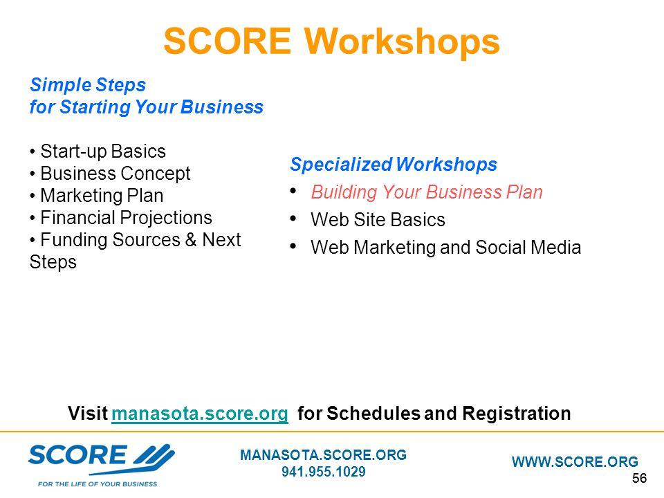 MANASOTA.SCORE.ORG 941.955.1029 WWW.SCORE.ORG 56 Visit manasota.score.org for Schedules and Registrationmanasota.score.org SCORE Workshops Specialized